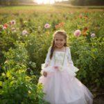 Robe de princesse rose pâle et or, taille US 7-8