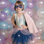 Set de super-héroine, tutu/cape/masque, rose/bleu, taille 7-8